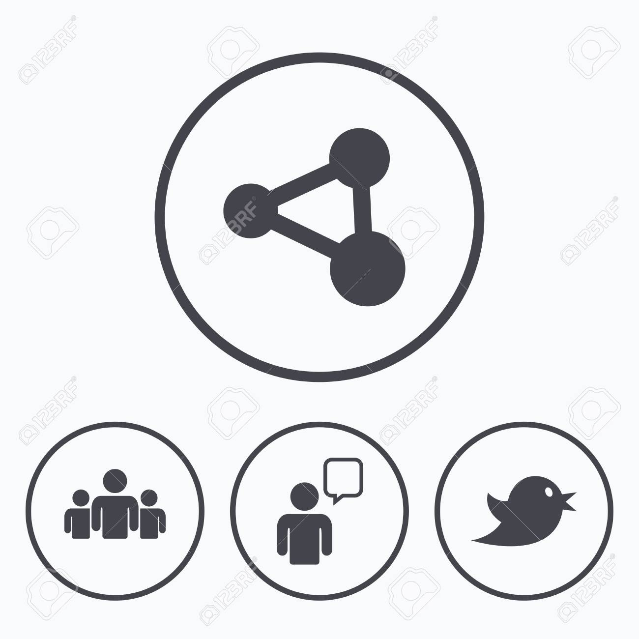 Group Of People And Share Icons Speech Bubble Symbols