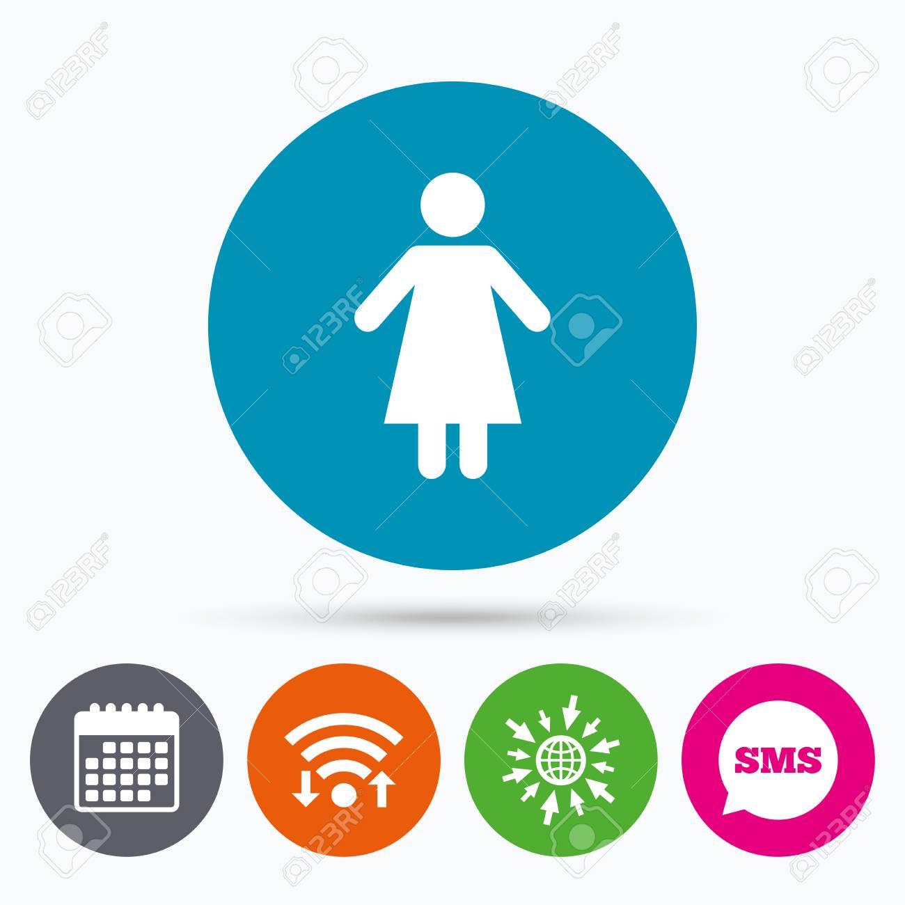 Icônes Wifi Sms Et Calendrier Icône De Signe Féminin Symbole