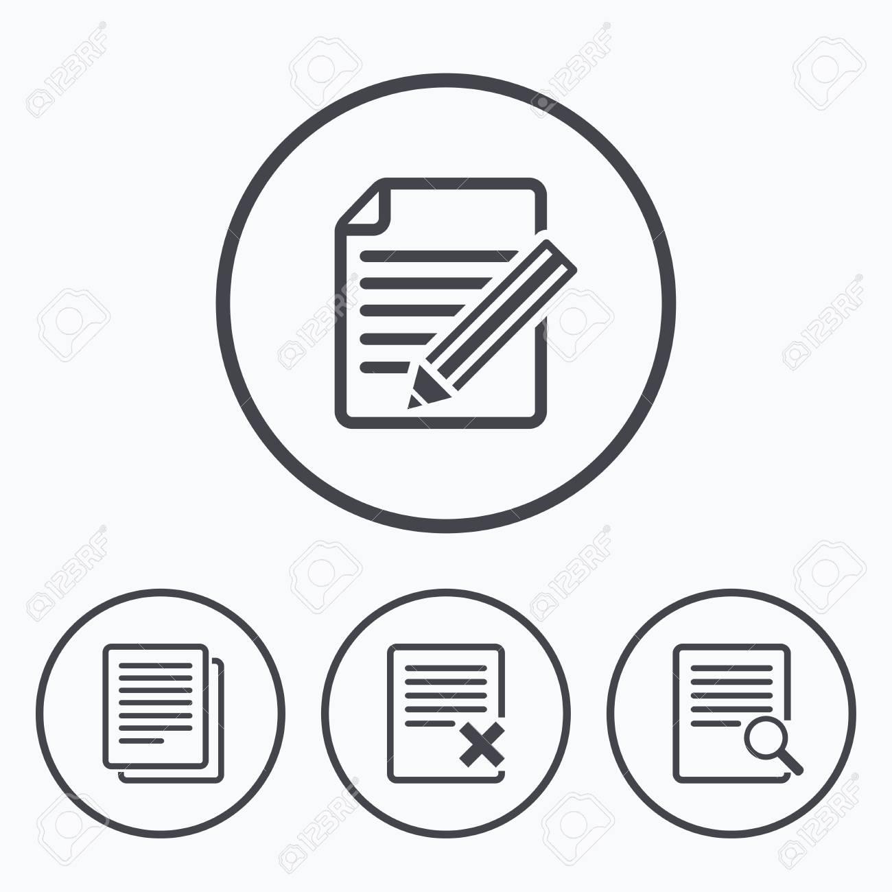 22ca490f16338 Foto de archivo - Iconos de documento de archivo. Buscar o encontrar  símbolo. editar contenidos con el signo de lápiz. Eliminar o borrar el  archivo.