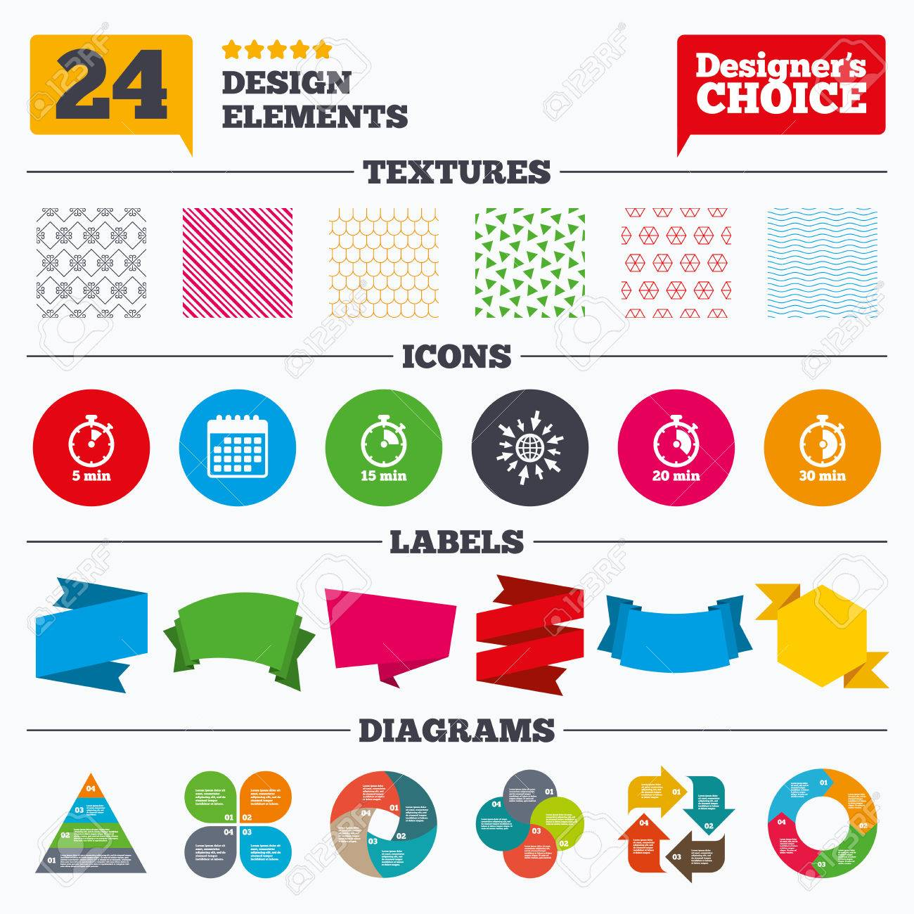 Banner tags, stickers and chart graph  Timer icons  5, 15, 20