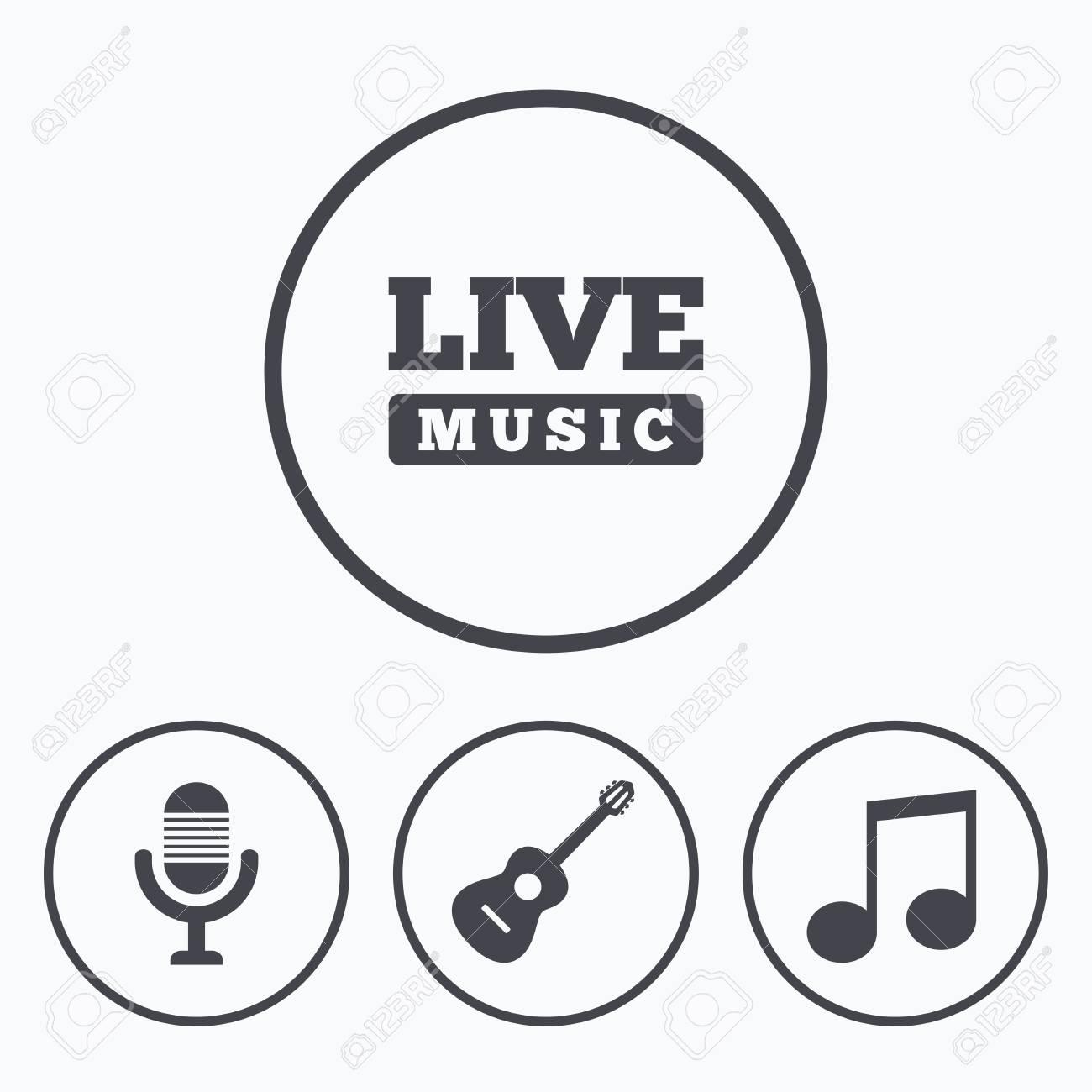 Iconos De Elementos Musicales Micrfono Y Smbolos De Msica En