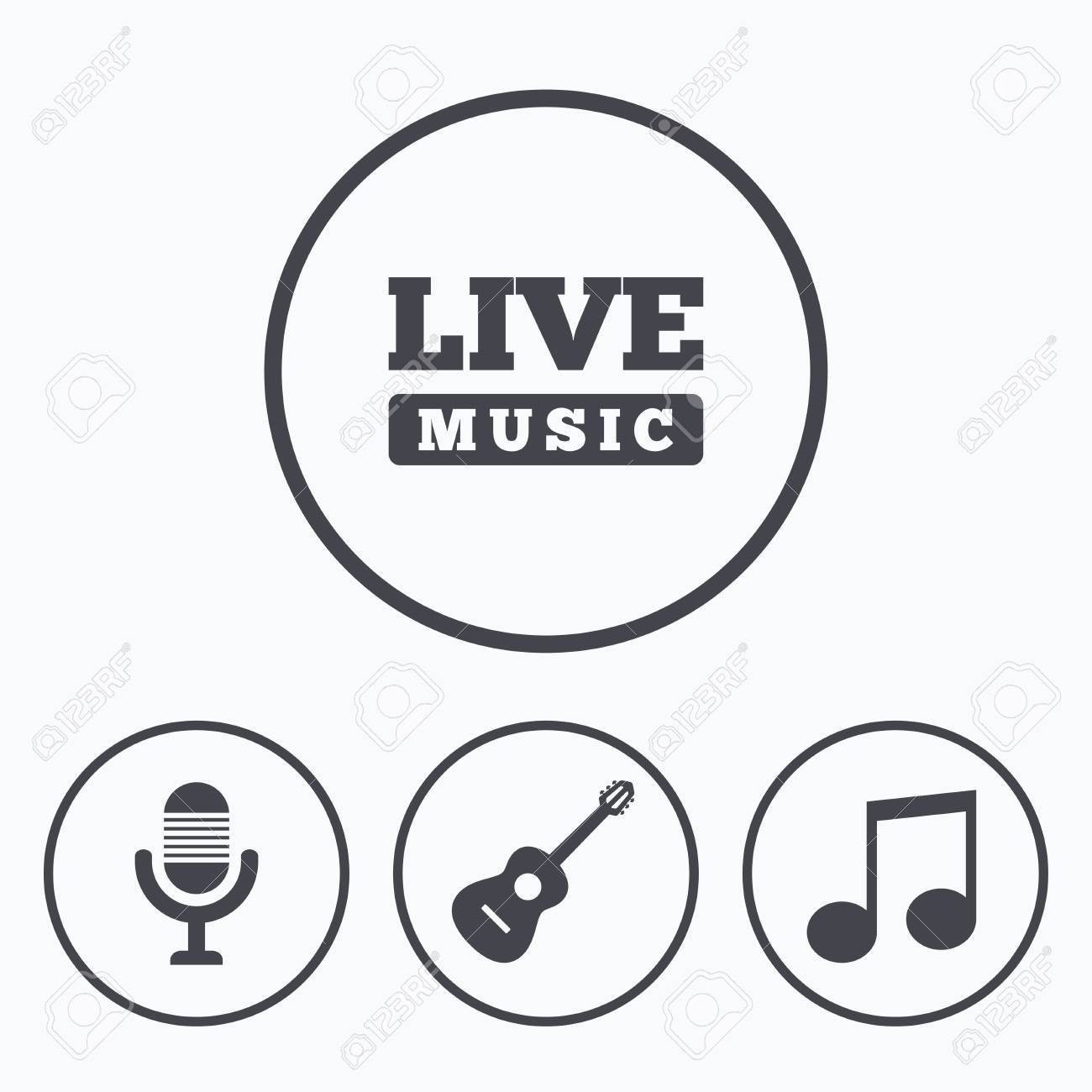 Musical elements icons microphone and live music symbols music musical elements icons microphone and live music symbols music note and acoustic guitar signs buycottarizona