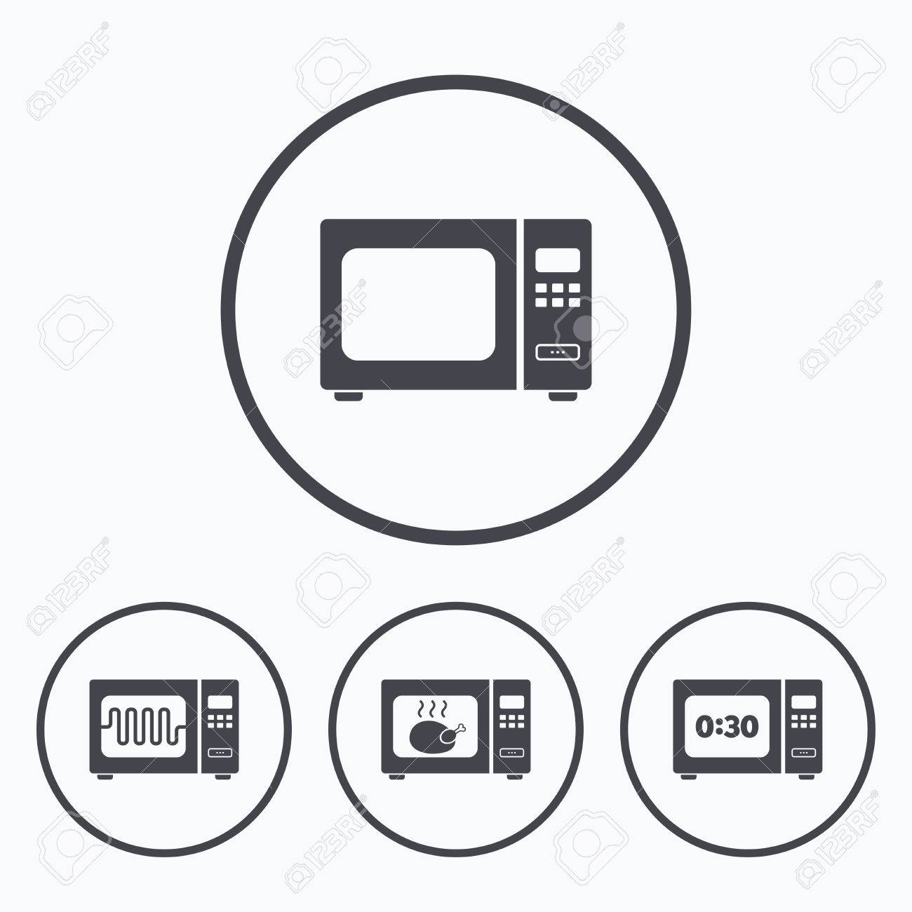 Microwave Oven Icons. Cook In Electric Stove Symbols. Grill Chicken ...