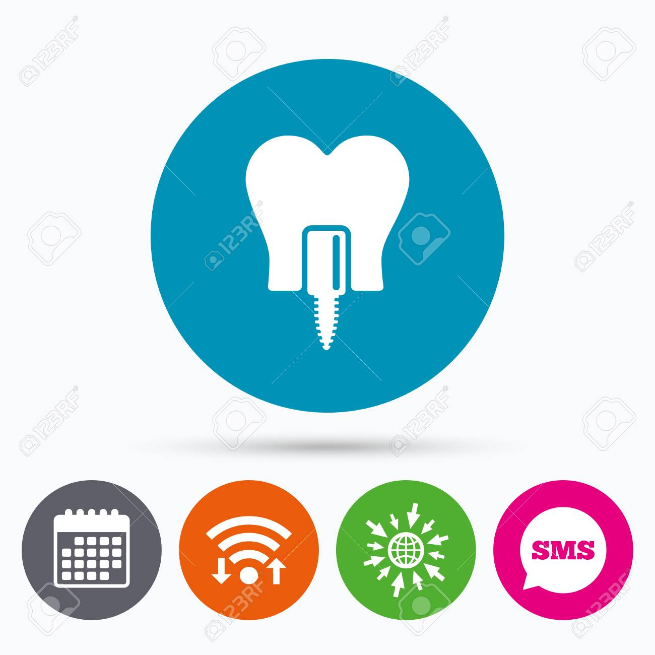 Wifi, Sms and calendar icons  Tooth implant icon  Dental endosseous