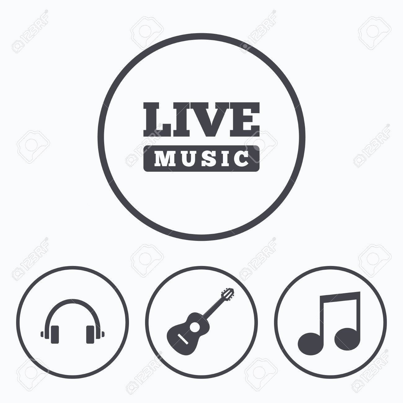 Musical elements icons musical note key and live music symbols musical elements icons musical note key and live music symbols headphones and acoustic guitar buycottarizona Gallery