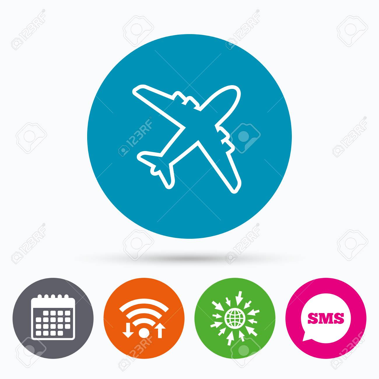Wifi Sms And Calendar Icons Airplane Sign Plane Symbol Travel