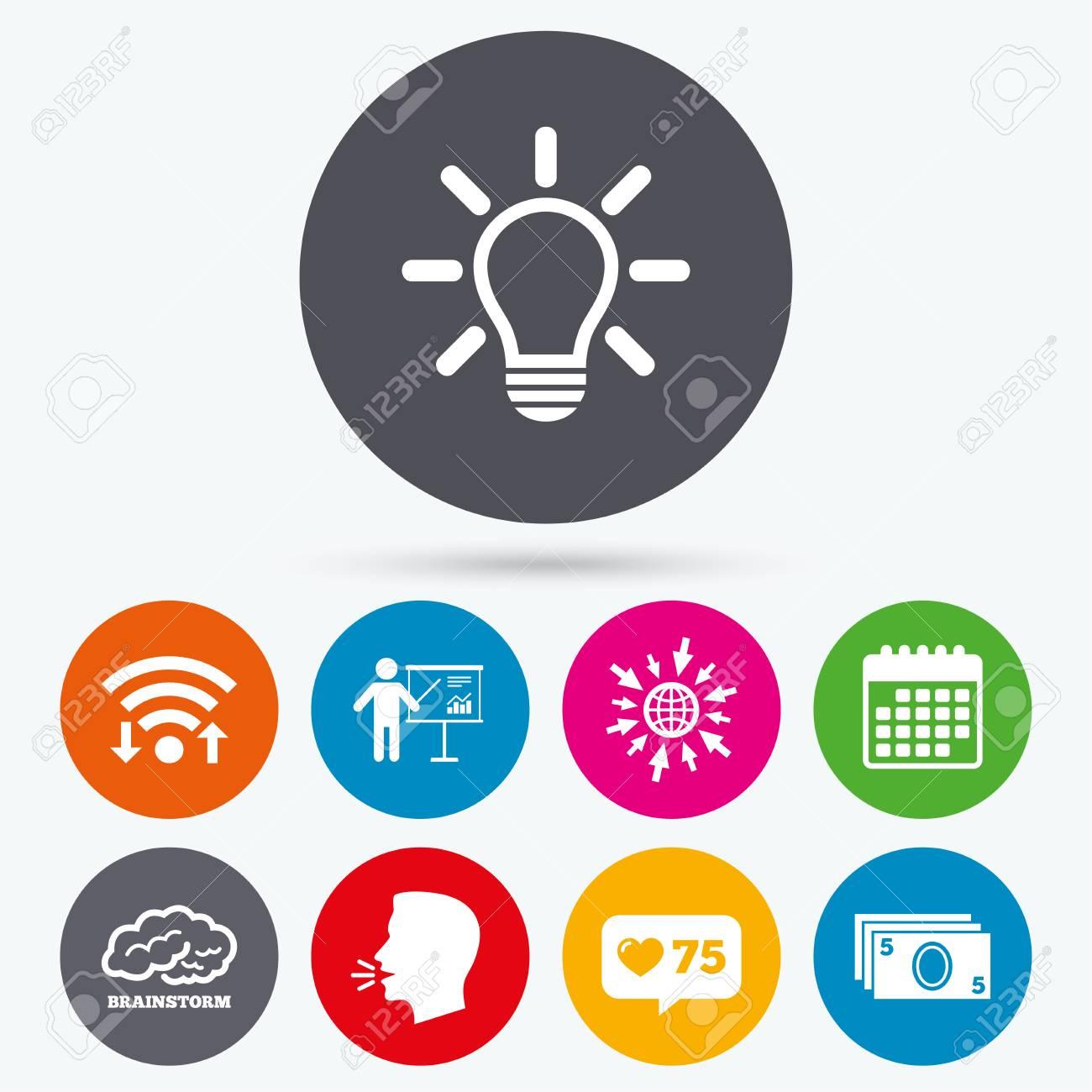 Wifi, Como Iconos De Venta Libre Y De Calendario. Presentación De La ...