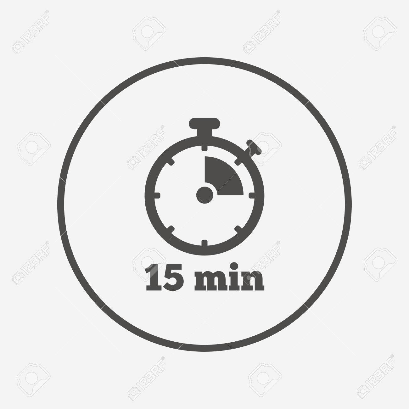Timer sign icon  15 minutes stopwatch symbol  Flat timer icon