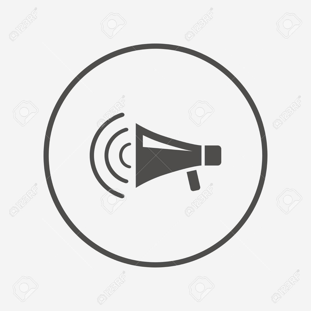Megaphone Sign Icon. Loudspeaker Strike Symbol. Flat Loudspeaker ...