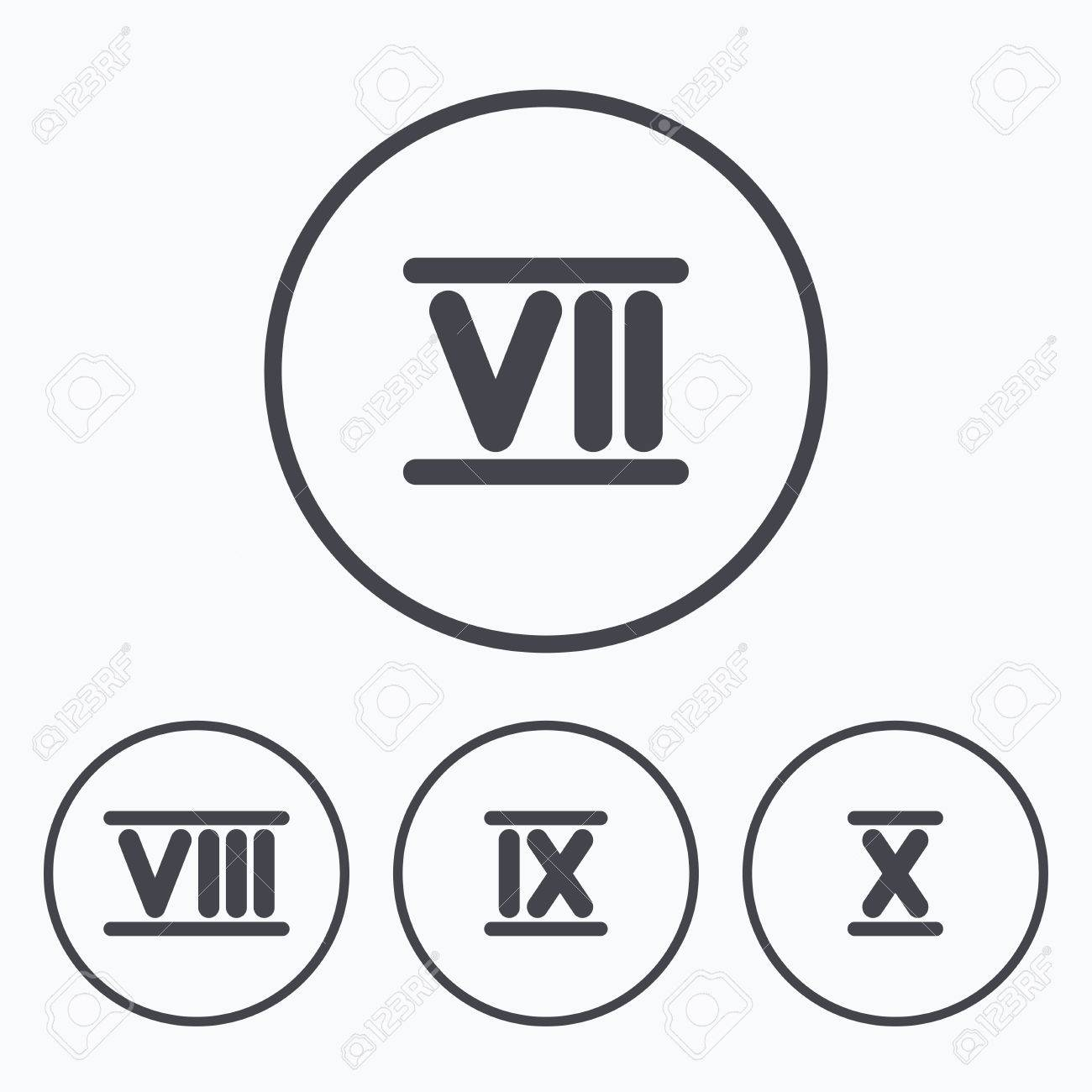 Roman Numeral Icons 7 8 9 And 10 Digit Characters Ancient
