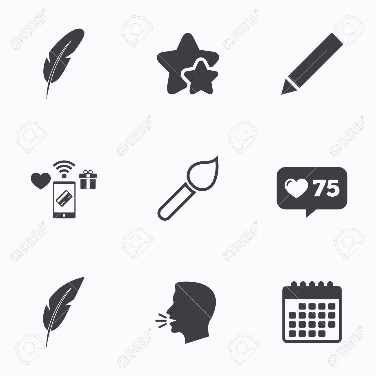 Feather retro pen icons paint brush and pencil symbols artist feather retro pen icons paint brush and pencil symbols artist tools signs flat biocorpaavc Choice Image