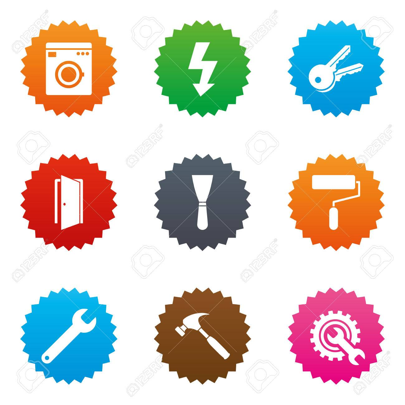 Repair Construction Icons Electricity Keys And Hammer Signs
