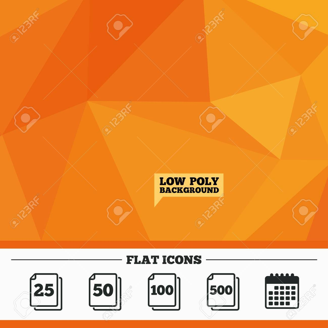 triangular low poly orange background in pack sheets icons quantity per package symbols