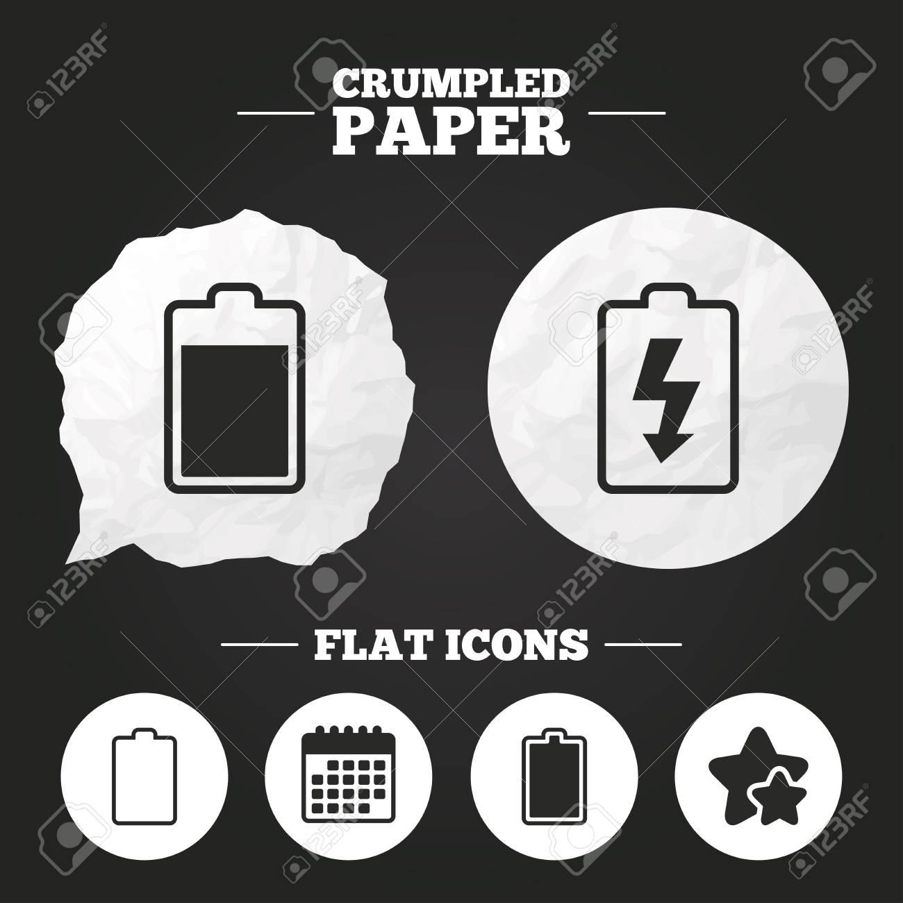 Zerknitterte Papier-Sprechblase. Batterieladensymbole. Elektrizität ...
