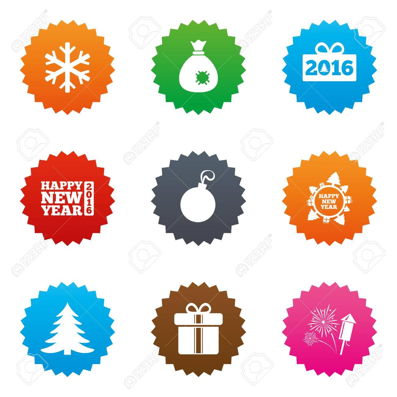 christmas new year icons gift box fireworks and snowflake signs santa bag
