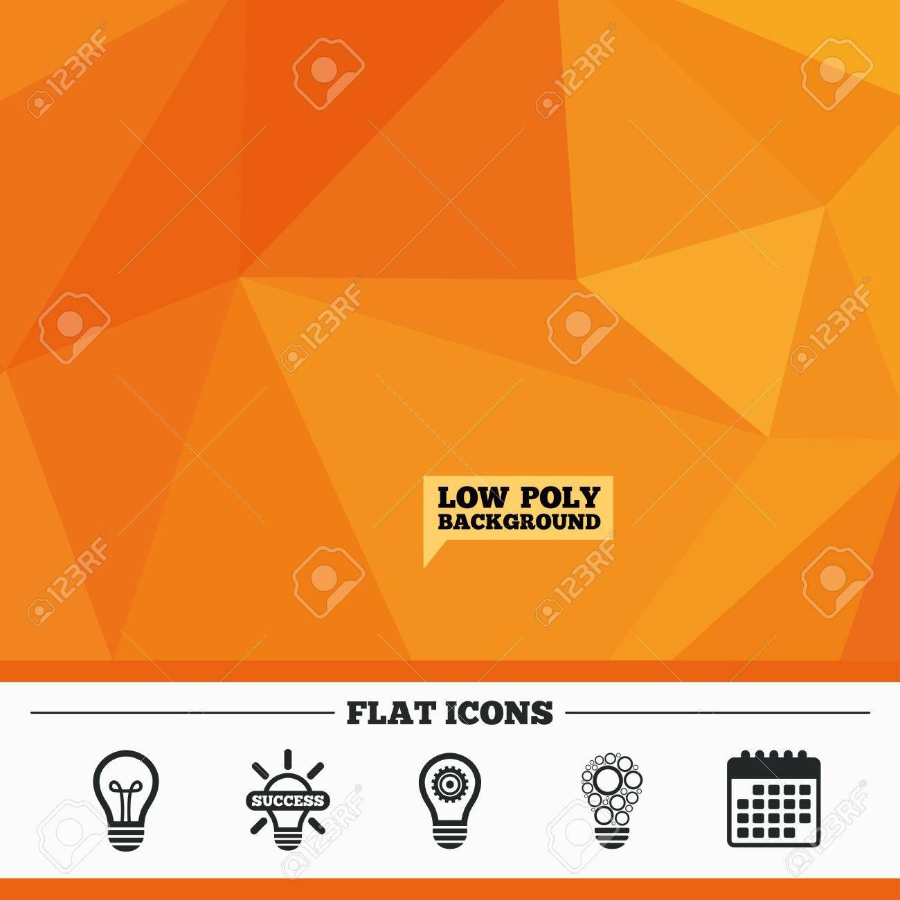Triangulaire à faible fond poly orange  Icônes de la lampe d'éclairage   Cercles symboles d'ampoule de lampe  Économie d'énergie avec engrenage à
