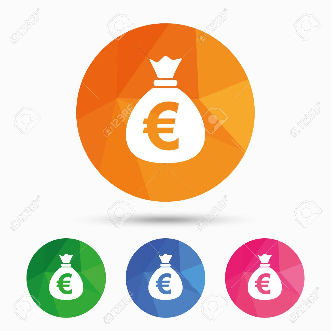 Money bag sign icon euro eur currency symbol triangular low money bag sign icon euro eur currency symbol triangular low poly button with flat buycottarizona Gallery