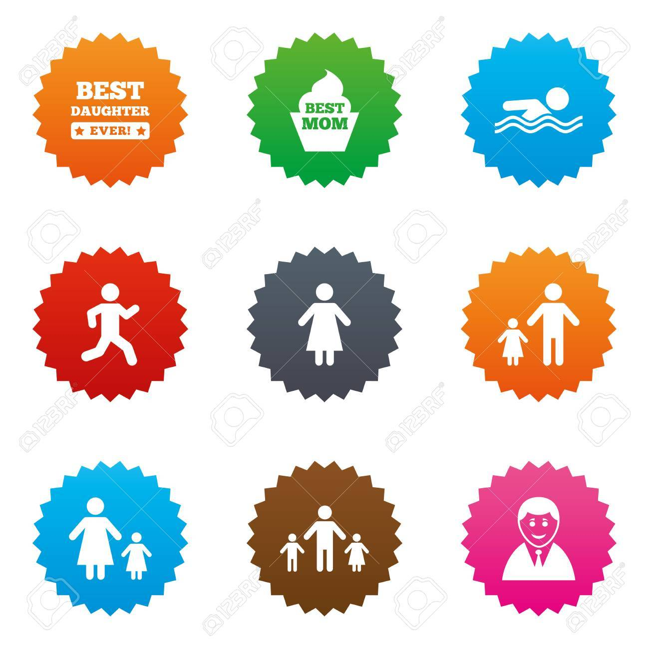 People Family Icons Swimming Pool Person Signs Best Mom