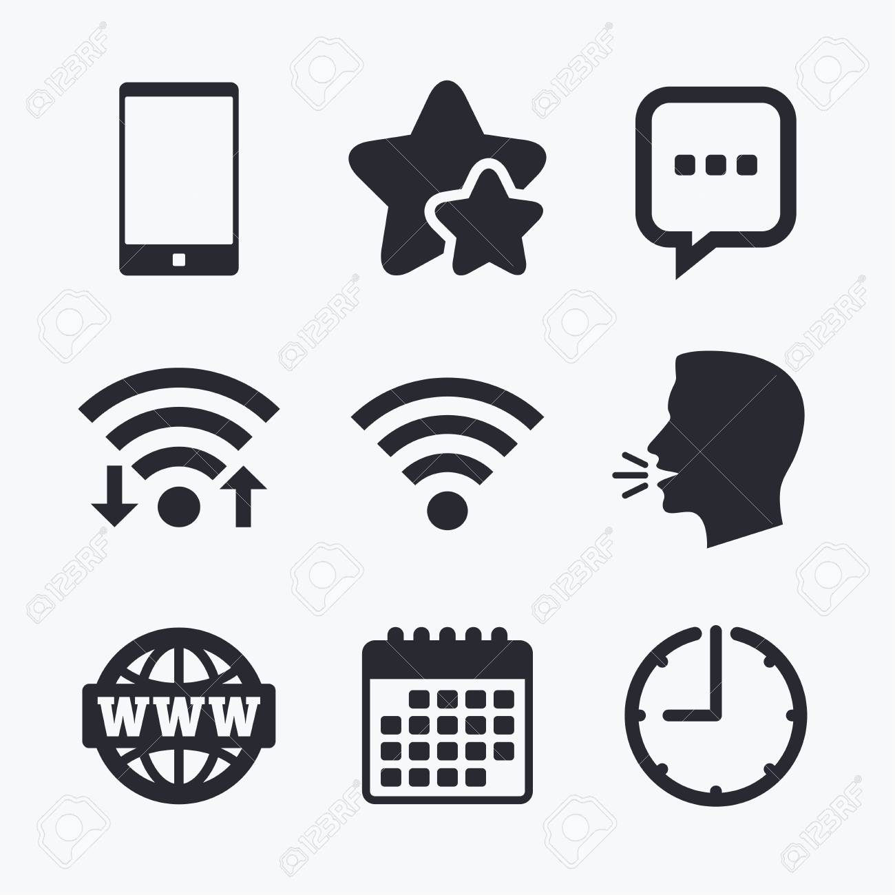 Communication Icons Smartphone And Chat Speech Bubble Symbols