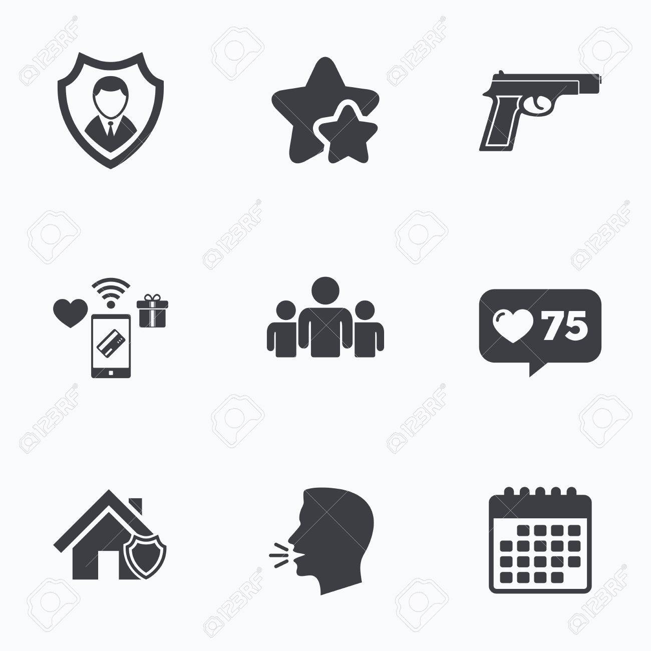 Security Agency Icons Home Shield Protection Symbols Gun Weapon