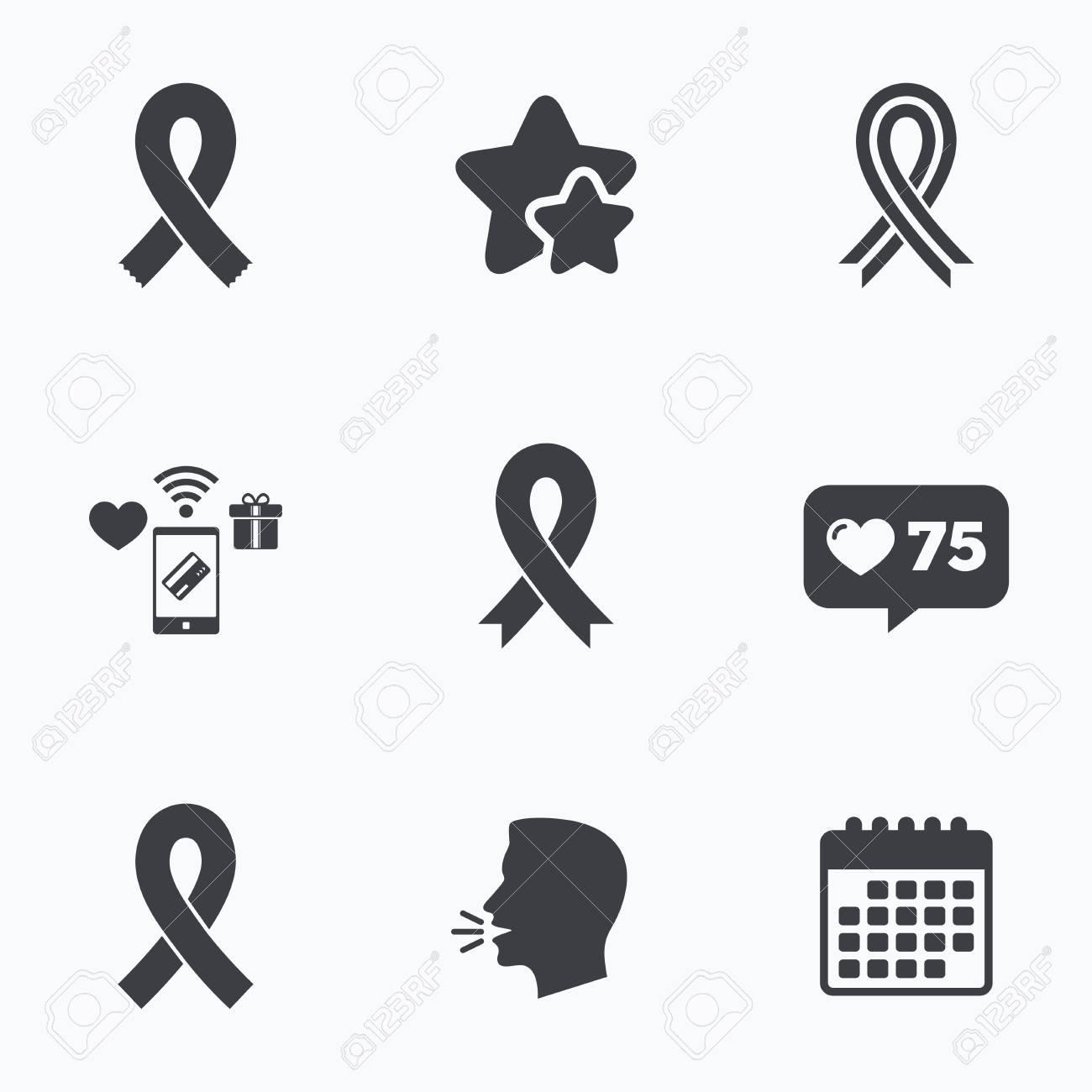 Breast Cancer Awareness Icons Ribbon Sign Symbols Flat Talking