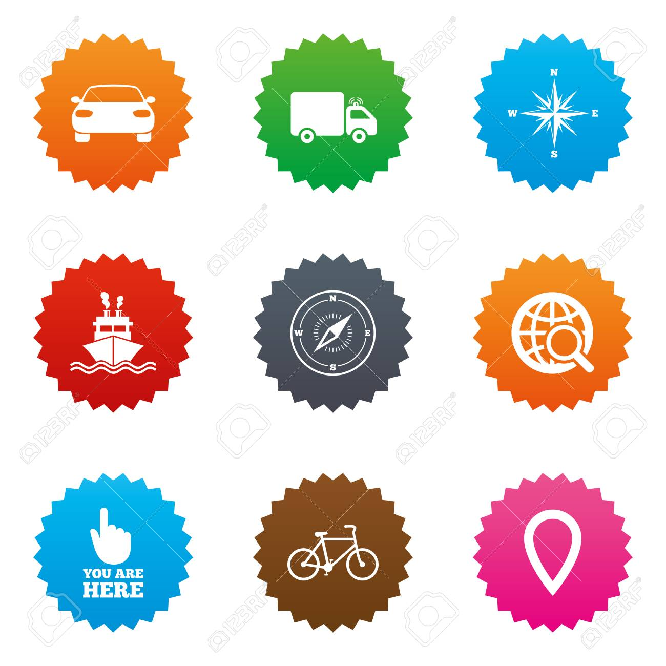 Navigation gps icons windrose compass and map pointer signs navigation gps icons windrose compass and map pointer signs bicycle ship and car symbols stars label button with flat icons vector clip art libres de biocorpaavc Gallery