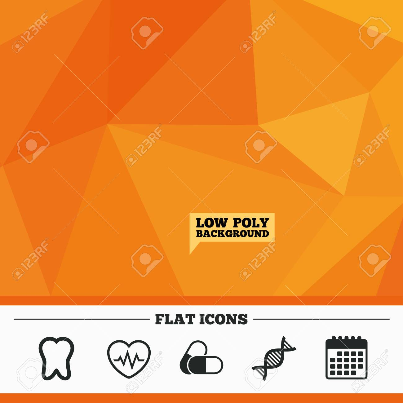 Baja Poli Fondo Naranja Triangular. Iconos De Maternidad. Píldoras ...