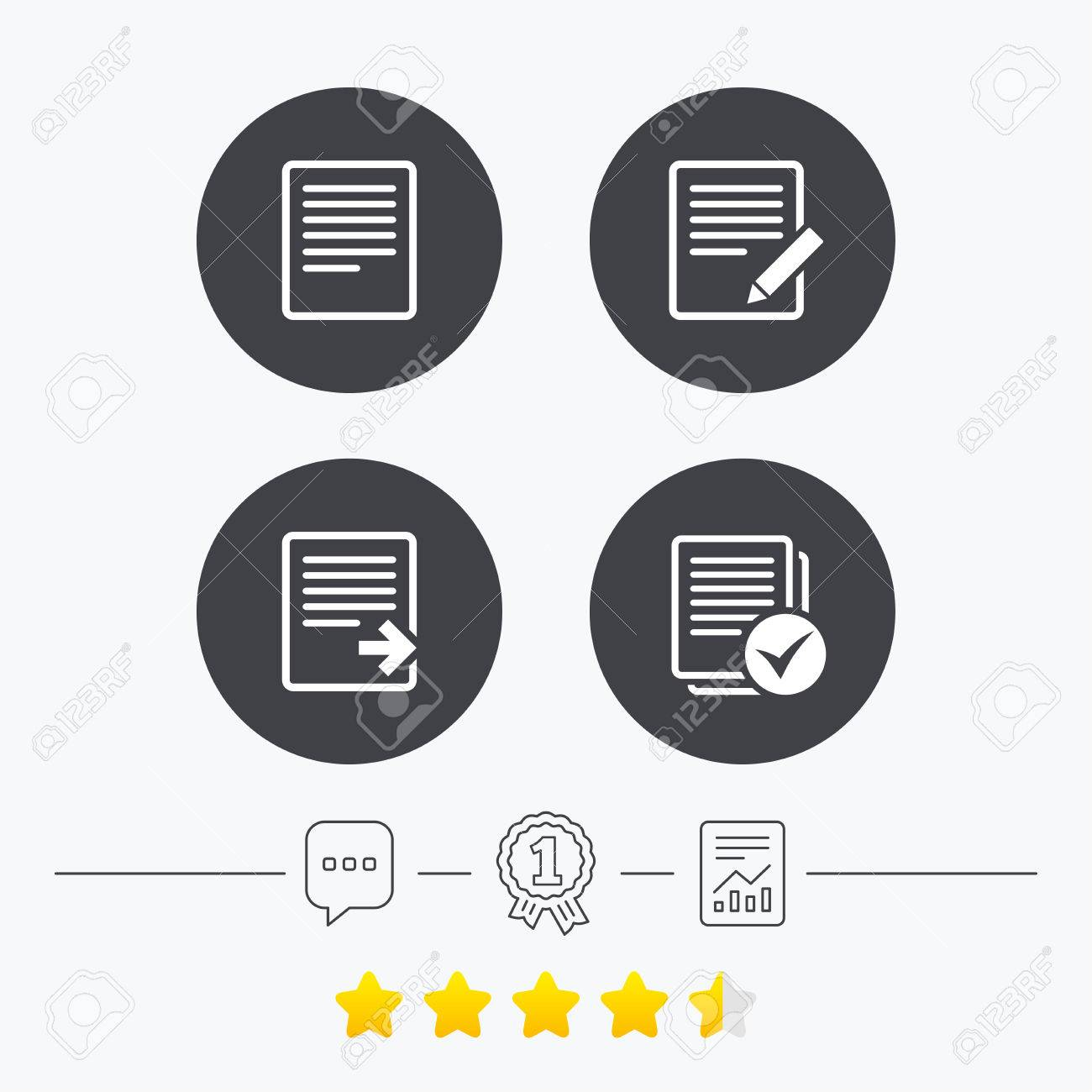 File document icons. Download file symbol. Edit content with pencil sign. Select file with checkbox. Chat, award medal and report linear icons. Star vote ranking. Vector - 59480329