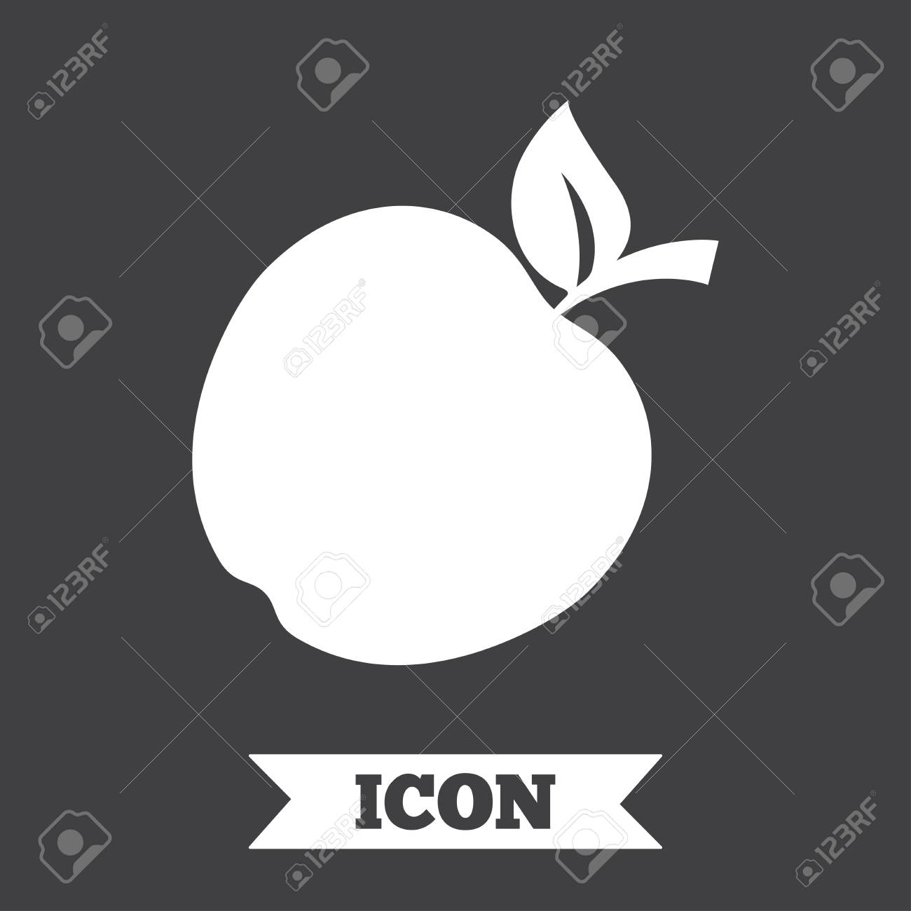 Apple Sign Icon Fruit With Leaf Symbol Graphic Design Element