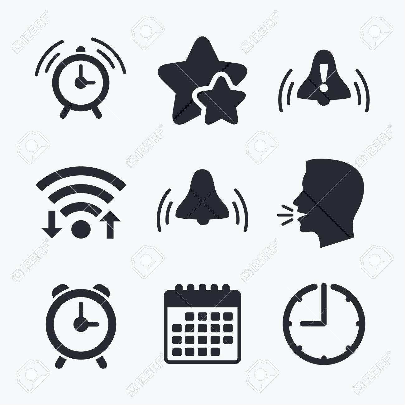 Alarm clock icons wake up bell signs symbols exclamation mark wake up bell signs symbols exclamation mark wifi internet biocorpaavc
