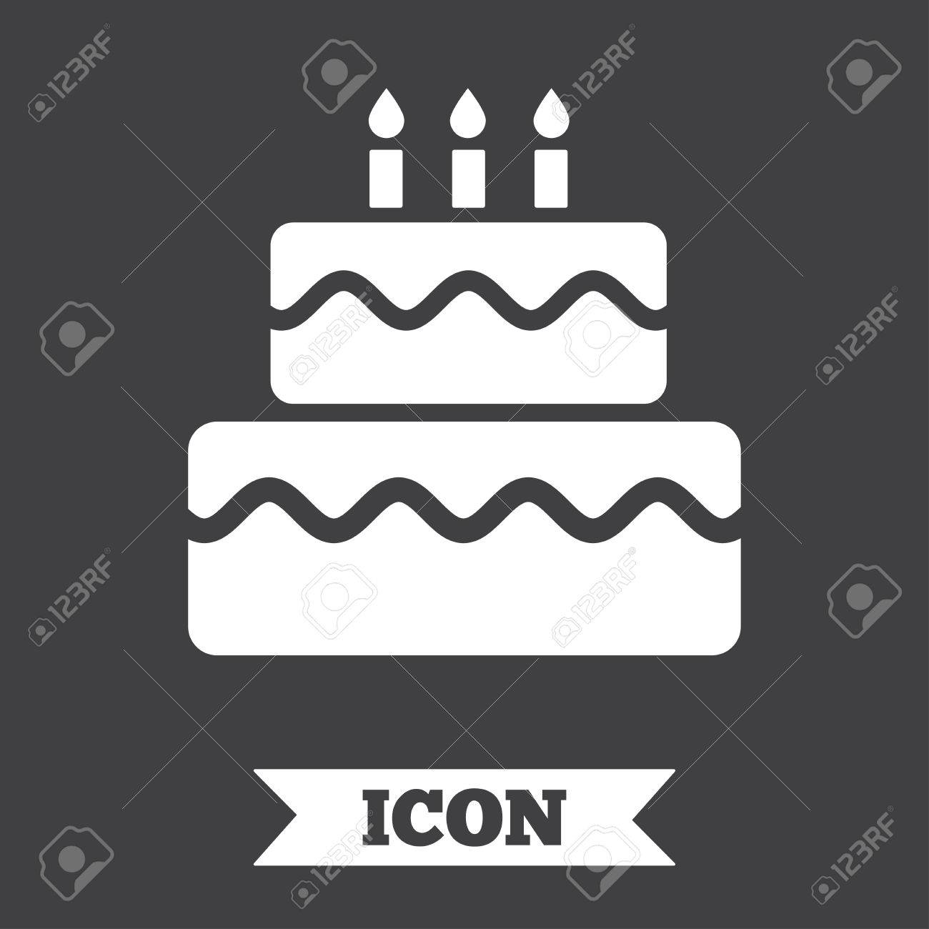 Birthday Cake Sign Icon Cake With Burning Candles Symbol Graphic