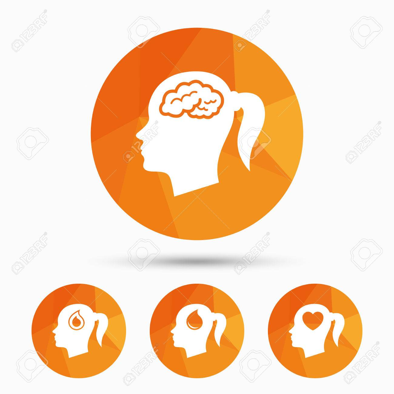 Head with brain icon female woman think symbols blood drop female woman think symbols blood drop donation signs love buycottarizona