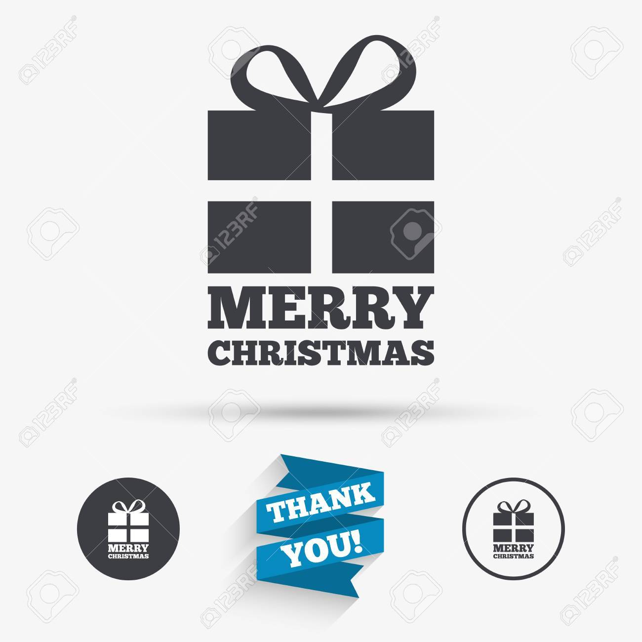 Merry Christmas Gift Sign Icon. Present Symbol. Flat Icons. Buttons ...