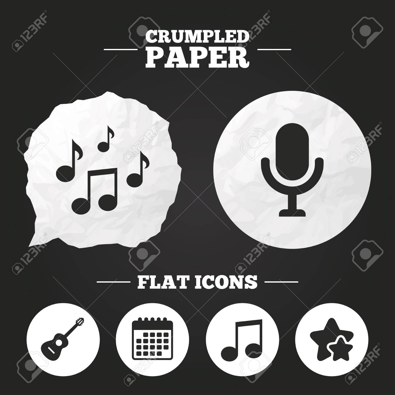 Crumpled Paper Speech Bubble Music Icons Microphone Karaoke