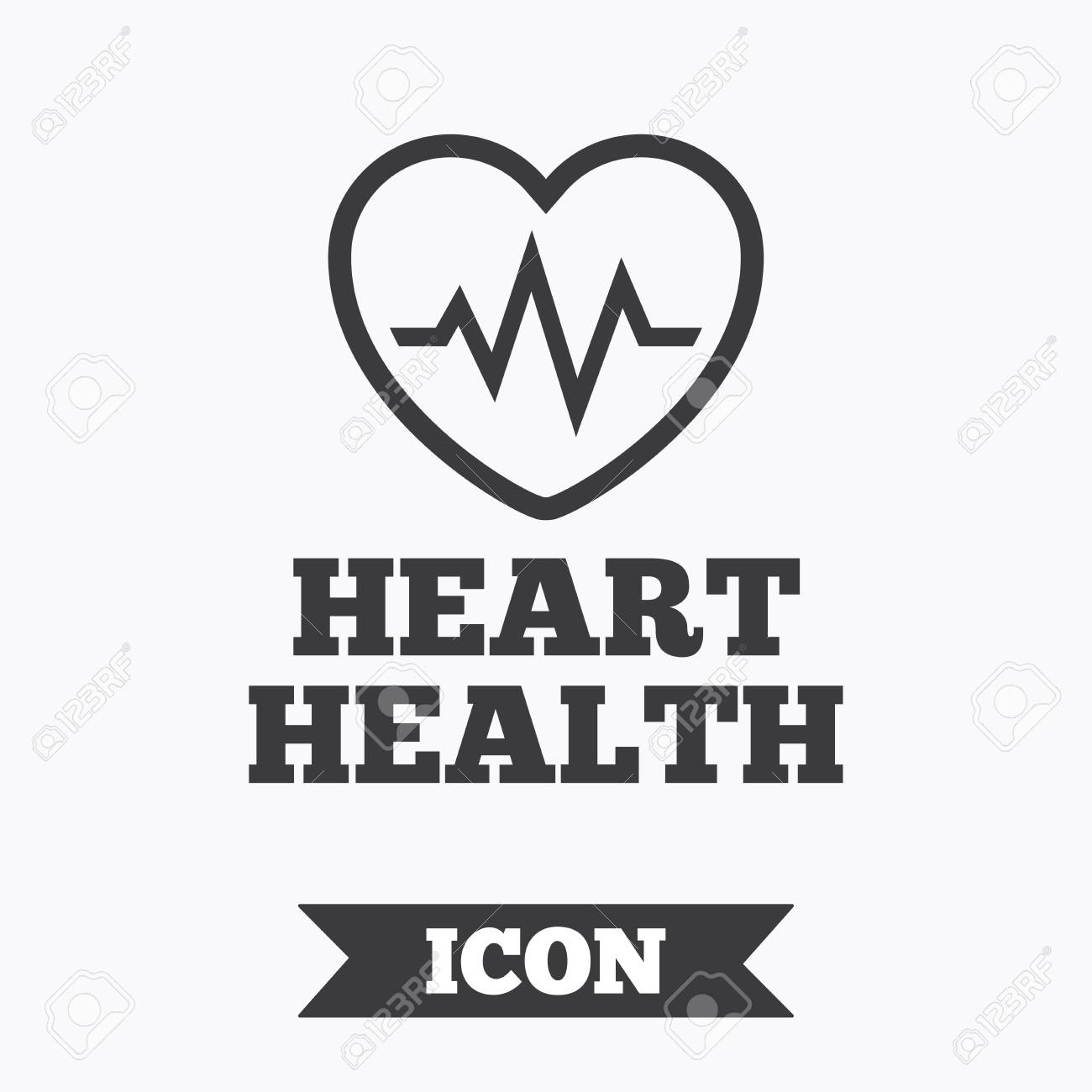 Heartbeat Sign Icon Heart Health Cardiogram Check Symbol Graphic