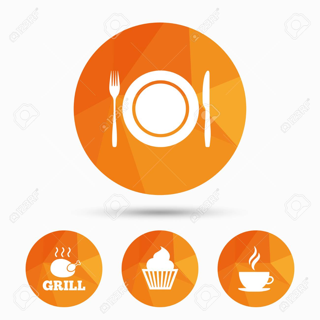 Food And Drink Icons Muffin Cupcake Symbol Plate Dish With Fork And Knife Sign Hot Coffee Cup Triangular Low Poly Buttons With Shadow Vector