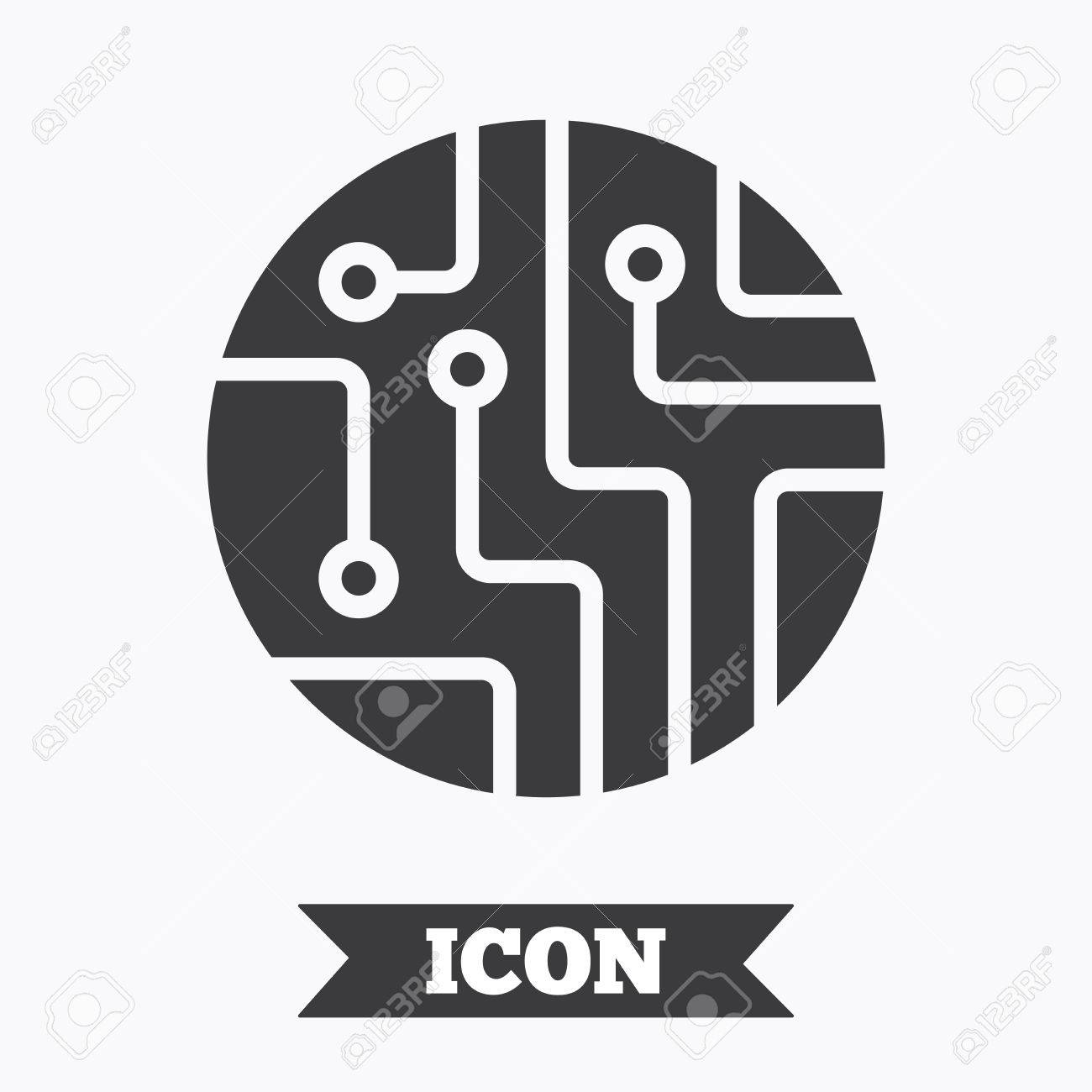 Circuit Board Sign Icon. Technology Scheme Circle Symbol. Graphic ...