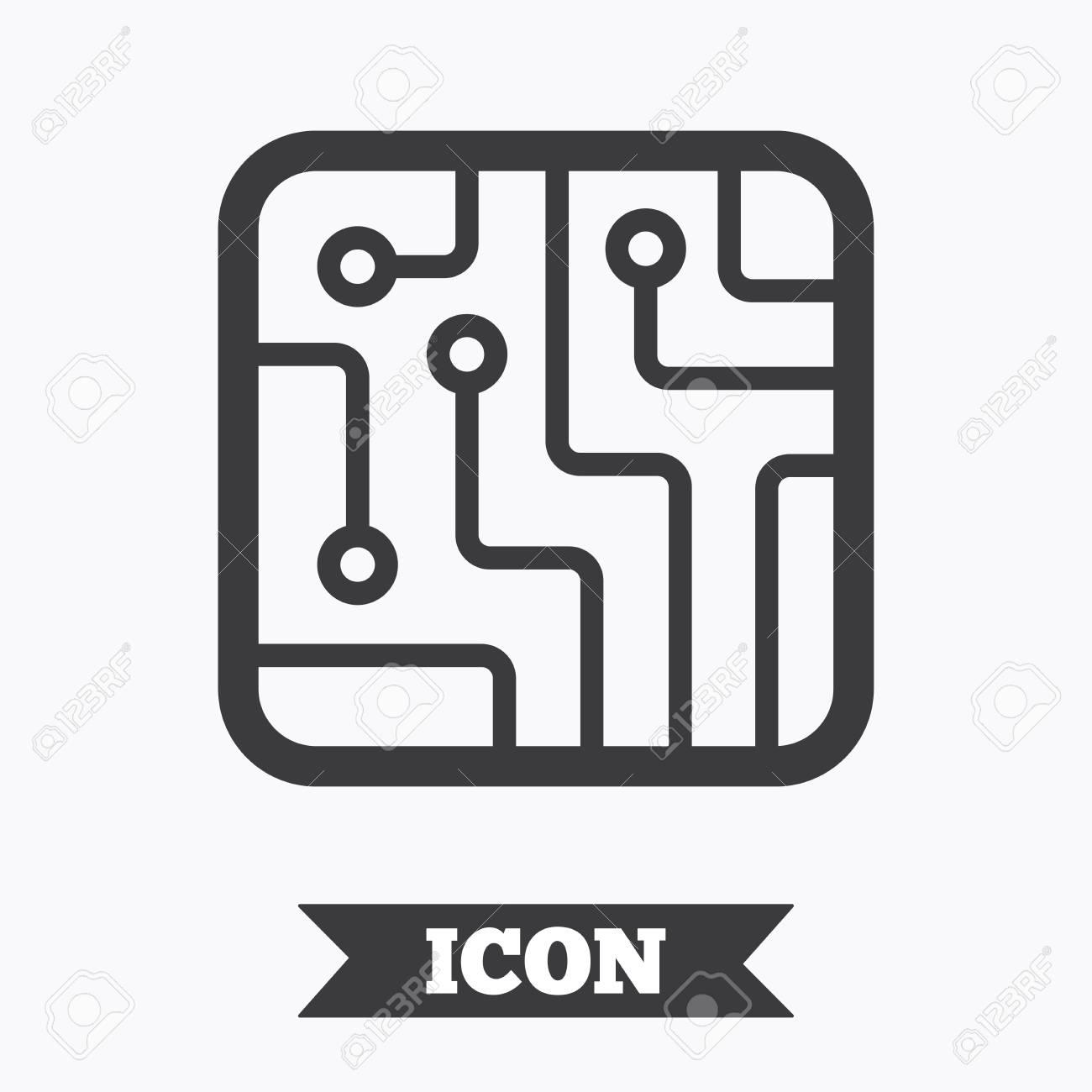 Circuit Board Sign Icon. Technology Scheme Square Symbol. Graphic ...