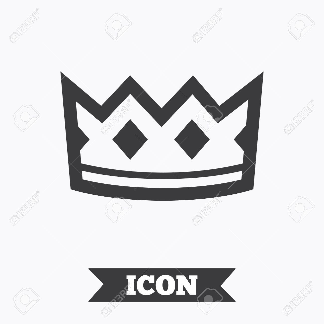 Crown Sign Icon King Hat Symbol Graphic Design Element Flat