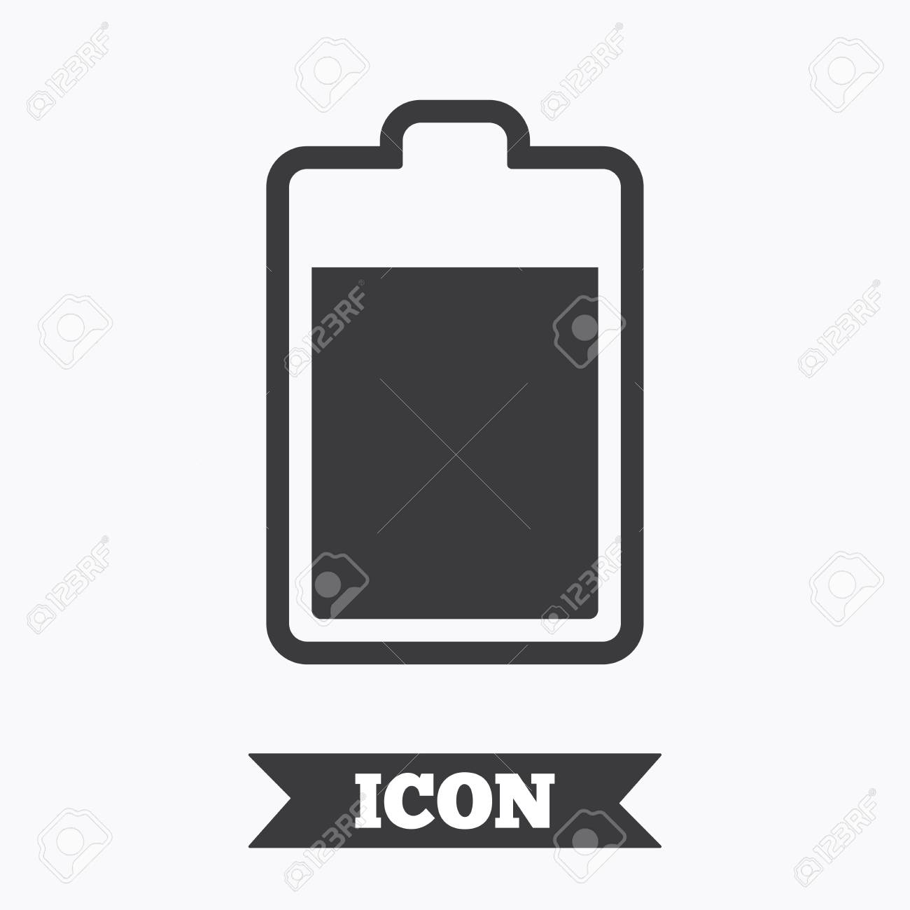 Battery level sign icon. Electricity symbol. Graphic design element...