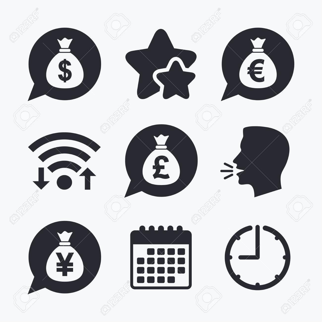 Money bag icons dollar euro pound and yen speech bubbles dollar euro pound and yen speech bubbles symbols usd biocorpaavc Gallery