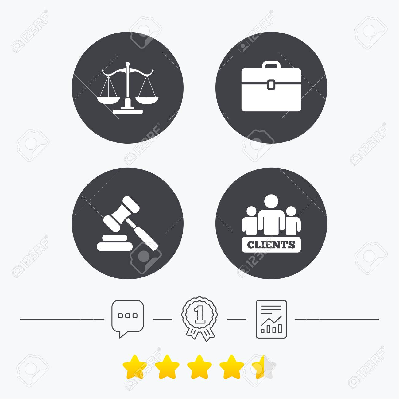 Scales Of Justice Icon Group Of Clients Symbol Auction Hammer