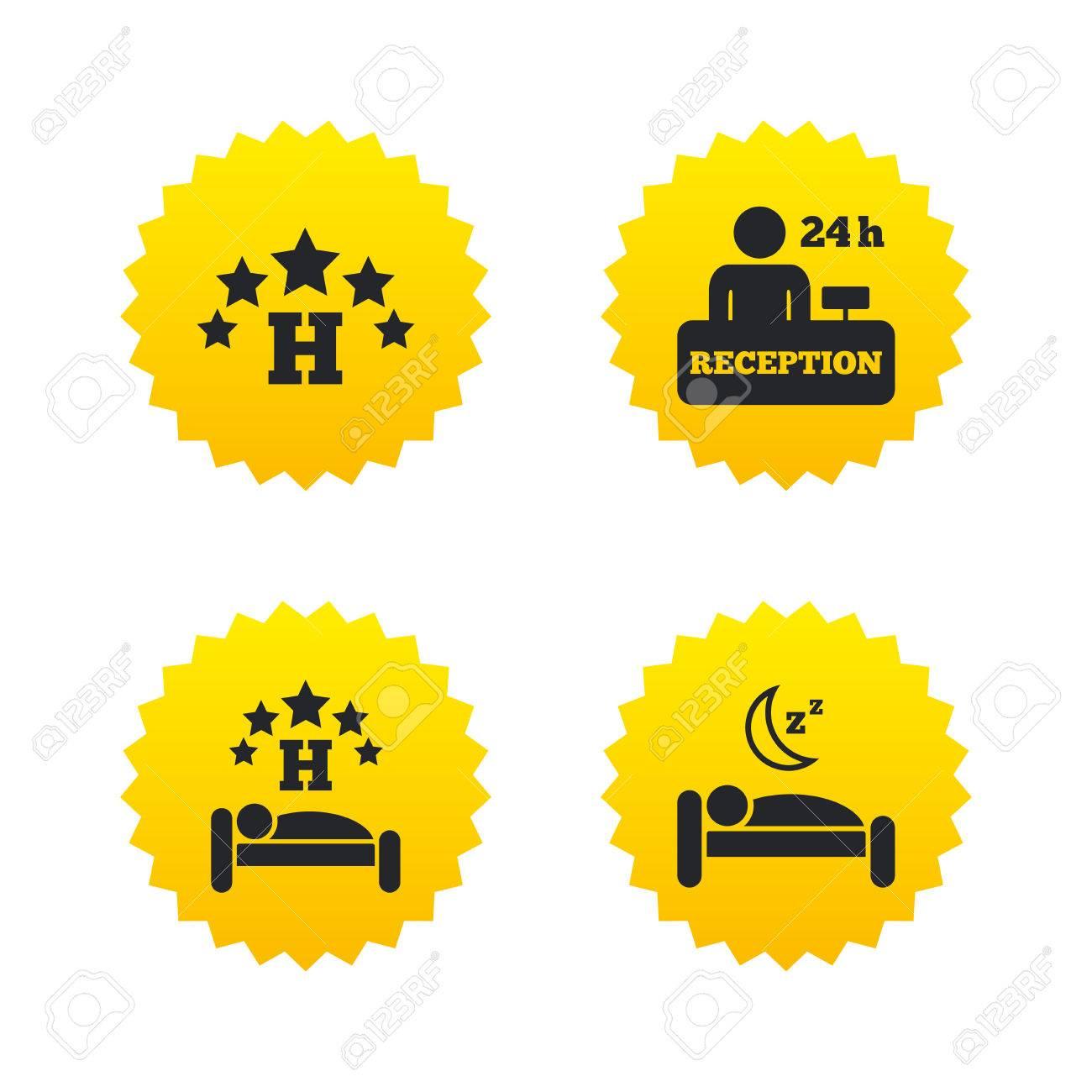 Fünf-Sterne-Hotel-Ikonen. Reiserastplatz Symbole. Der Menschliche ...