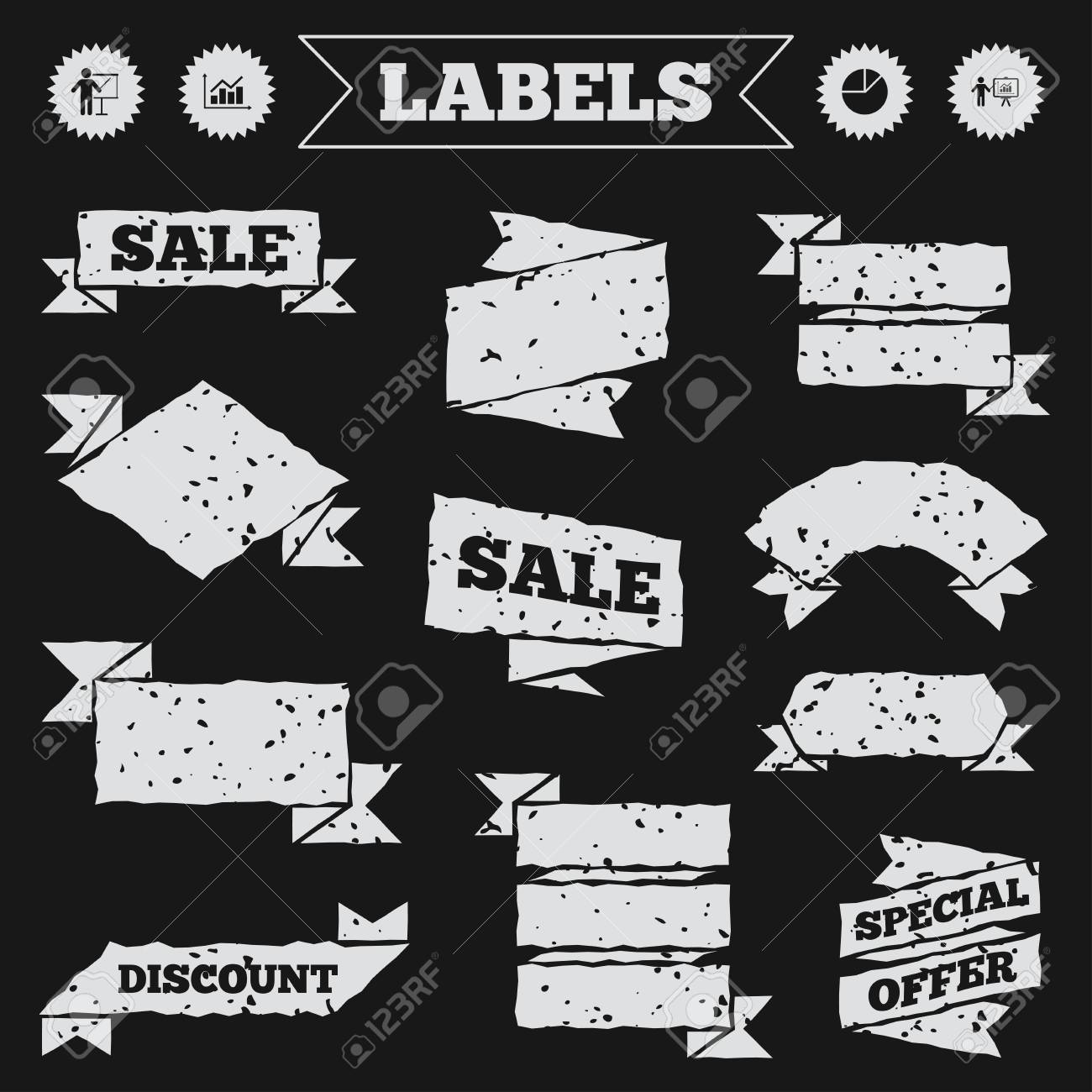 Stickers, tags and banners with grunge  Diagram graph Pie chart