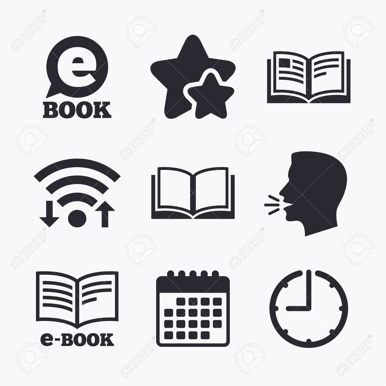 Electronic Book Icons E Book Symbols Speech Bubble Sign Wifi