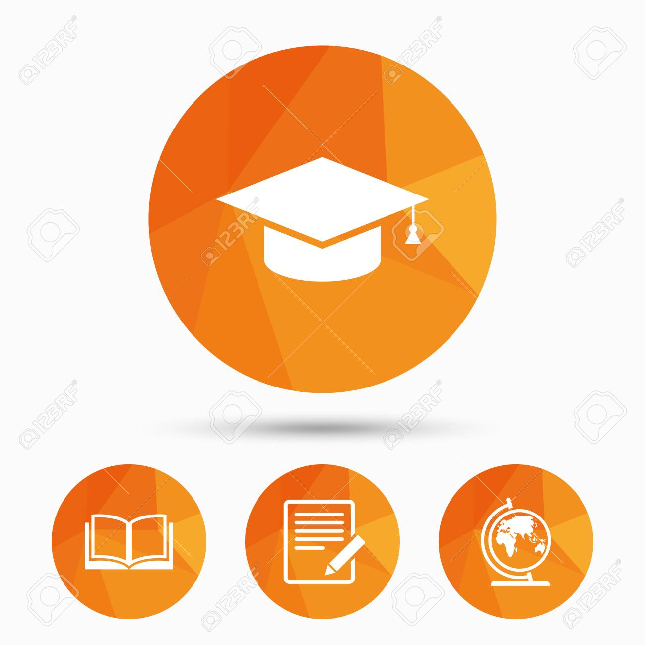 Pencil With Document And Open Book Icons Graduation Cap And