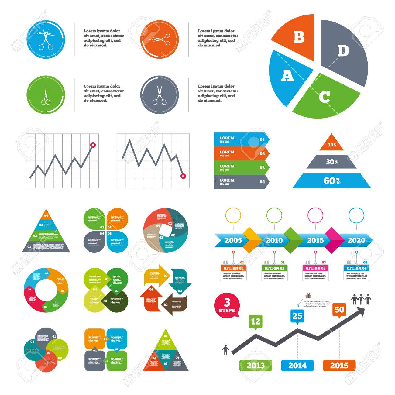 Data pie chart and graphs. Scissors icons. Hairdresser or barbershop..