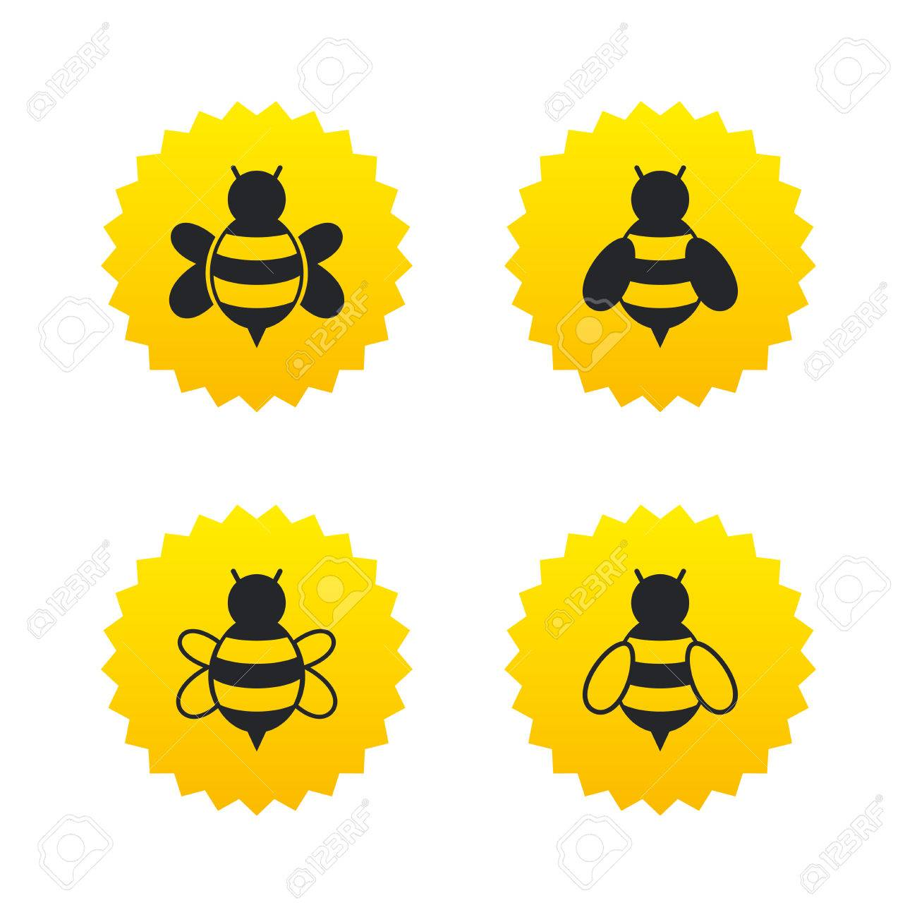 Honey bees icons bumblebees symbols flying insects with sting bumblebees symbols flying insects with sting signs yellow stars labels biocorpaavc