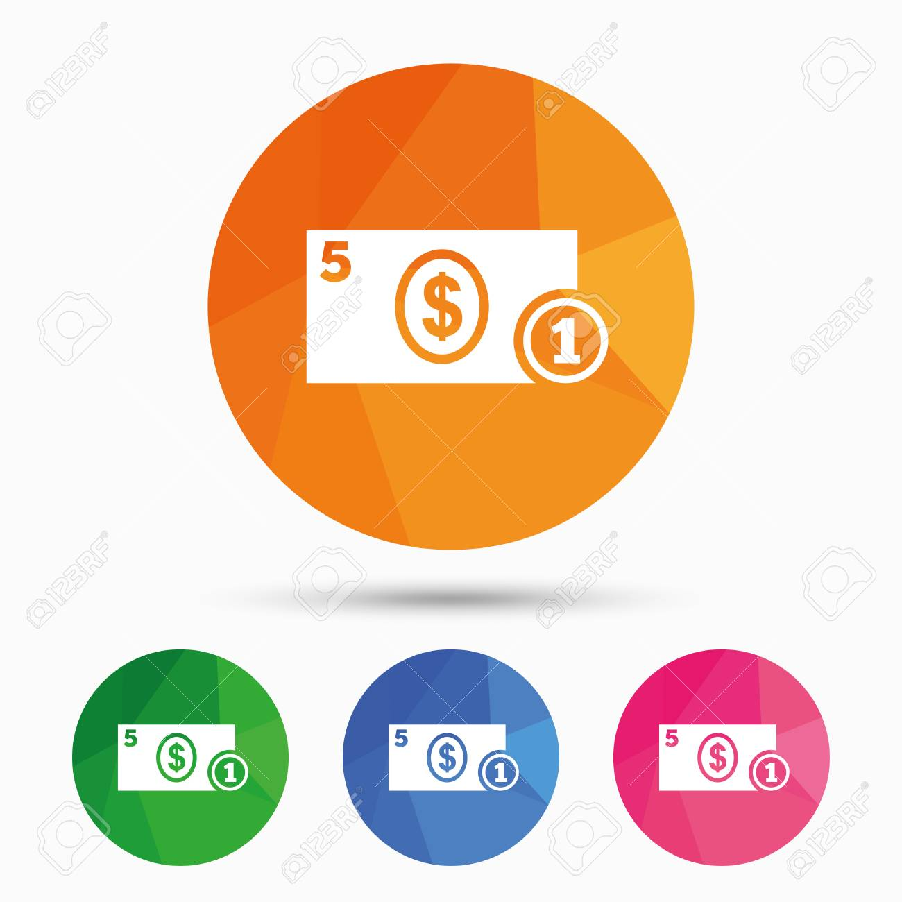 Cash Sign Icon Dollar Money Symbol Usd Coin And Paper Money