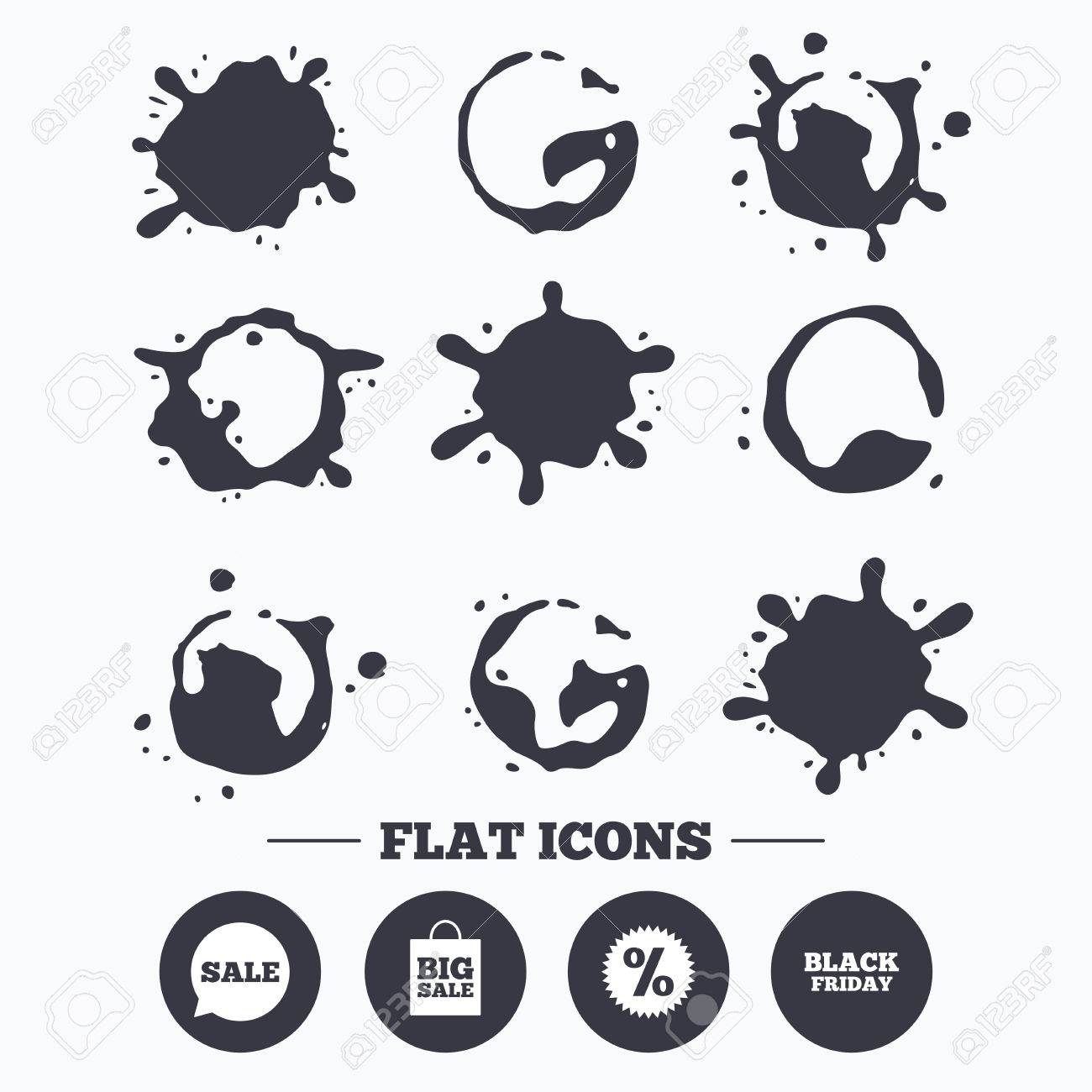 Paint, coffee or milk splash blots  Sale speech bubble icon
